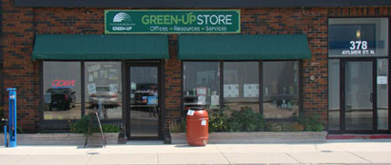GreenUP uses window awnings to shade the windows and reduce air conditioning costs.