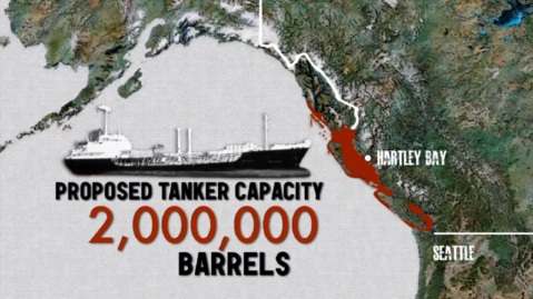 Potential devastation from a spill by tankers for proposed Northern Gateway project.