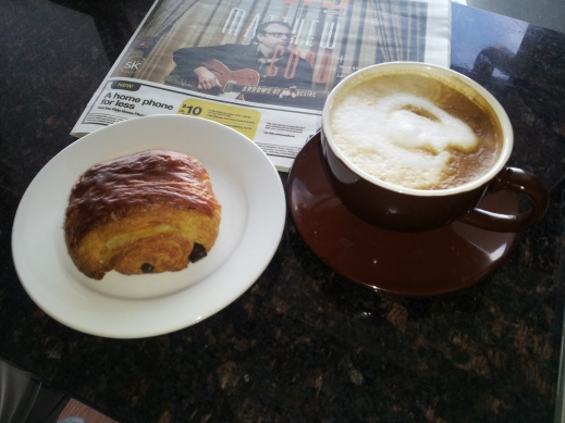 My (almost) guilt-free breakfast treat–an organic latte with a chocolate croissant made from organic, unbleached flour and organic butter.