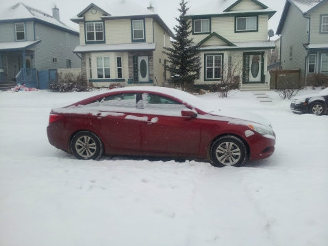 A common site on my Calgary mornings–one very frosty Sonata.
