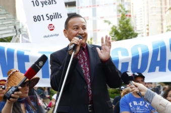 Grand Chief Stewart Phillip - Vancouver Rally on Northern Gateway decision day - web